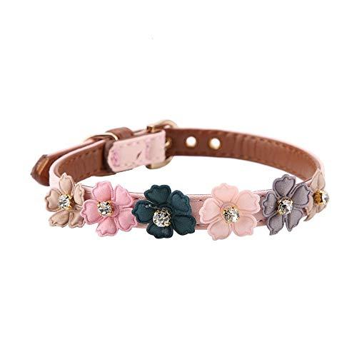 Pssopp Hundehalsband Fashion Flower Dekor Halsband Einstellbare Daisy Blumen Haustier Kragen PU Leder Hund Halsbänder für kleine Katze Hund(1.3 * 34cm-Pink)