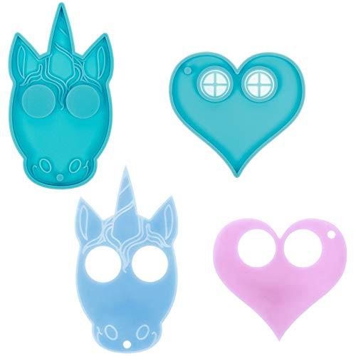 Peerless 2Pcs Unicorn Resin Molds Heart Casting Silicone Molds for Keychain Making Candy Chocolate Fondant Mold DIY Jewelry Handmade Gift Ornament Resin Epoxy Craft Decoration