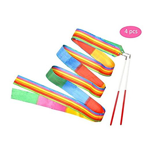 Yolito 4 Stück 2 Meter Dance Farbbänder Rhythmische Streamer Baton Twirling Gymnastic Ribbon mit bequemen besonderen Griff für Kinder Kunst Tänze