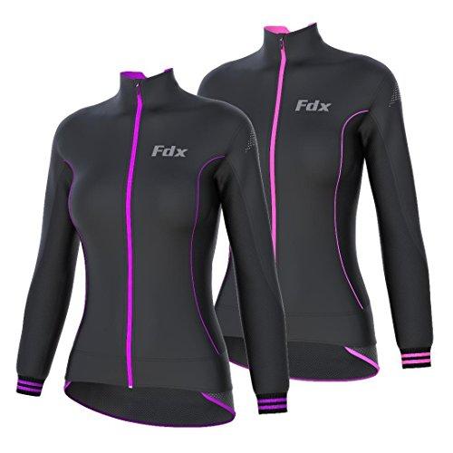 FDX Damen Fahrrad Softshell Jacke Windstopper Thermo Laufjacke XL schwarz/violett