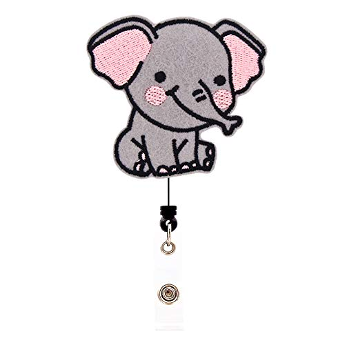 Ascrafter Elephant Badge Holder Reel Retractable, 360 Degree Rotating Alligator Clip, Women's ID Card Holder, Retract Cord Up to 24 inch