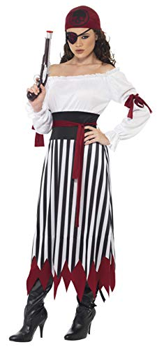 Smiffys Women's Pirate Lady Costume, Dress with Arms tied, Belt and Headpiece, Pirate, Serious Fun, Size 14-16, 20803