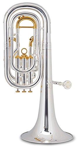 Lechgold BH-241S Bb-Baritonhorn (für Einsteiger und Fortgeschrittene, Edelstahl-Ventile, aus hochwertigem Messing, Züge aus Neusilber, inkl. Koffer, Mundstück, Reinigungstuch) versilbert