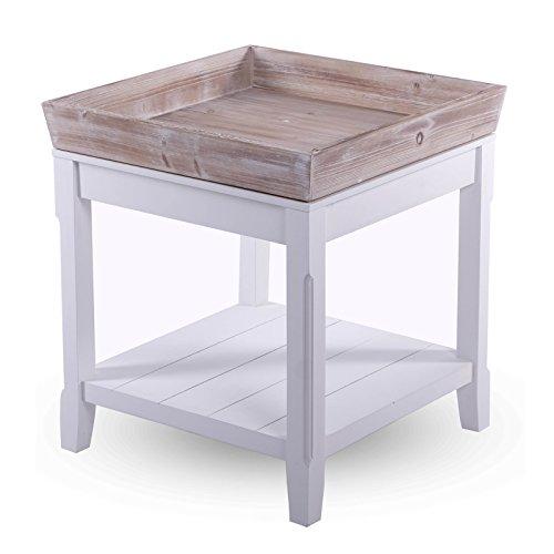 TAVOLINO IN STILE VINTAGE 'FRANCO' | legno, con vassoio, Shabby, 55x50 cm | comodino
