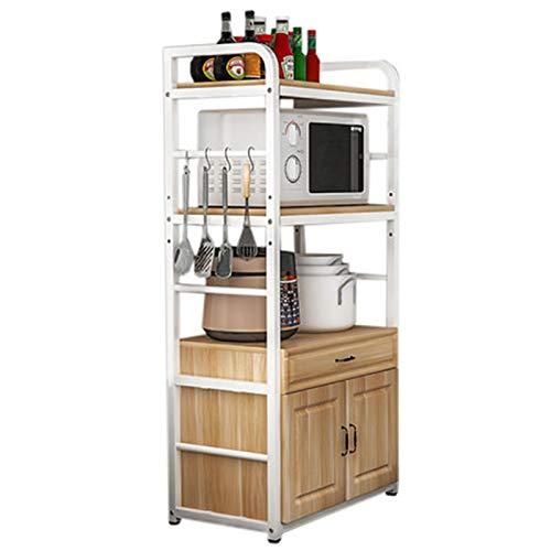 CHENSHJI Rack de Isla de Cocina Estante de la Cocina Piso Multi-Capa Microondas Microondas Estante del Horno con el Armario de la Puerta. (Color : Natural, Size : 145x40x55cm)