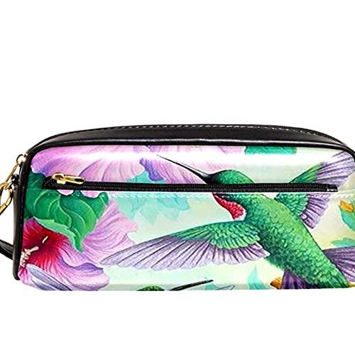 Estuche para lápices Marcador Bolígrafo Bolsa Organizador de escritorio Pájaros de muelle de primavera flores de hibisco Bolsa de almacenamiento