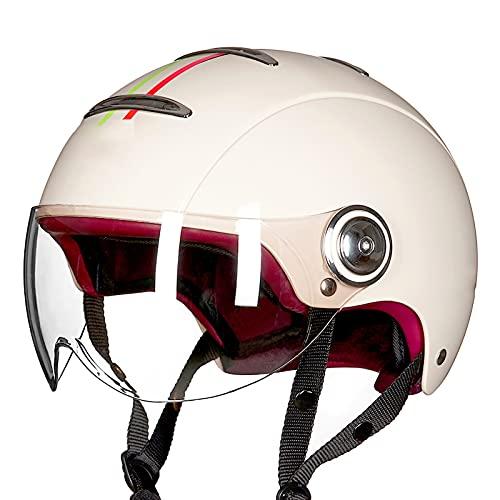 Casco de Moto Retro,Abierto Media Cara Casco Hombres Mujeres Cascos de Ciclomotor Certificación ECE con Visera Casco de Protección para Moto D,XL60~61CM