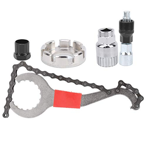 Fybida Herramienta extractora de Bicicletas, un Uso con enchufes de 24 mm, Ajuste de tensión, Llave de Cadena de reparación, Kit de Herramientas de reparación de 5 Piezas, para Resolver la mayoría