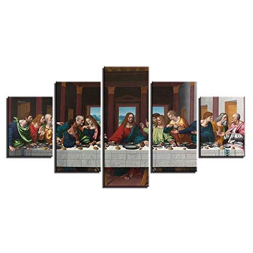 BXZGDJY Leinwand Poster Für Wohnzimmer Home Decor 5 Stück Abendmahl Landschaftsmalerei Jesus Christus Bilder Moderne Wandkunst 200X100CM Bild Bilder auf Leinwand 5 teilig Poster für Home Wohnzimmer