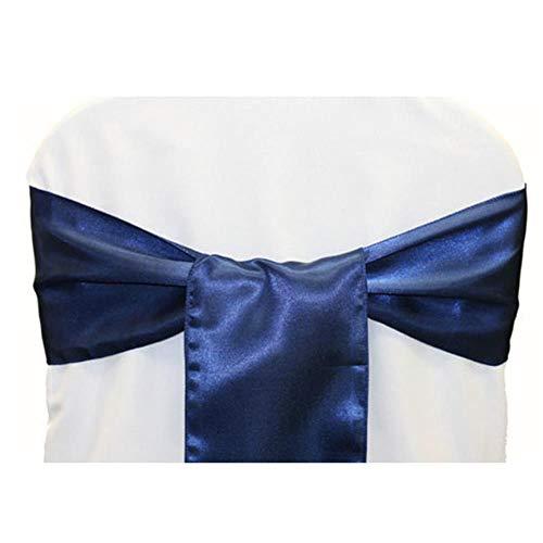 KKA 100 pz/Lotto Tessuto di Raso Archi 100% telai di sedie sedie di Nozze Decorazione Nodo Festa di Nozze Forniture per Banchetti, Blu Navy