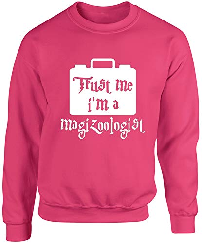 Hippowarehouse Trust me I'm a magizoologist Unisex Jumper Sweatshirt Pullover (Specific Size Guide in Description) Fuchsia Pink