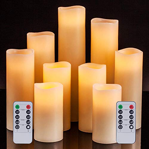 Pandaing Flameless Candles Battery Operated LED Pillar Real Wax Electric Unscented Candles with Remote Control Cycling 24 Hours Timer, Ivory Color, Set of 9