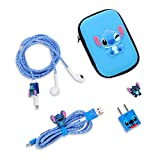 DIY Protector Stitch Set,Data Cable USB Charger Data Line Earphone Wire Saver Protector Compatible for iPhone 7 8 Plus X iPad iPod iWatch Series (Stitch) (Blue)