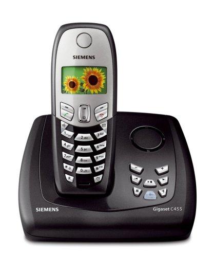 Siemens Gigaset C455 Colour, Schnurloses DECT-Telefon mit Farbdisplay und integriertem Anrufbeantworter, schwarz