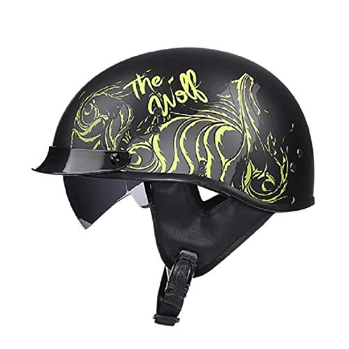 Casco Moto Abierto Medio Casco Dot Homologado Retro Vintage Style Cascos Half-Helmet con Visera Casco Moto Abierto para Adultos Hombres Mujeres