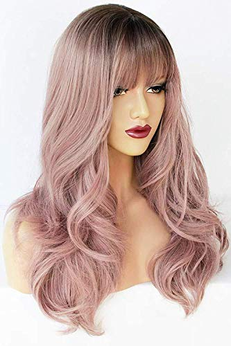 Ebingoo 22 inch Light purple wig with bangs Lolita Wigs lavender wig with bangs Synthetic Hair Natural Long Straight Wig for women for cosplay for any occasion