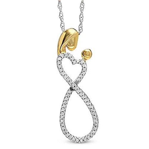 0,10quilates (de quilate) plata diamante redondo día de la madre especial mamá niño Ladies colgante 1/10CT