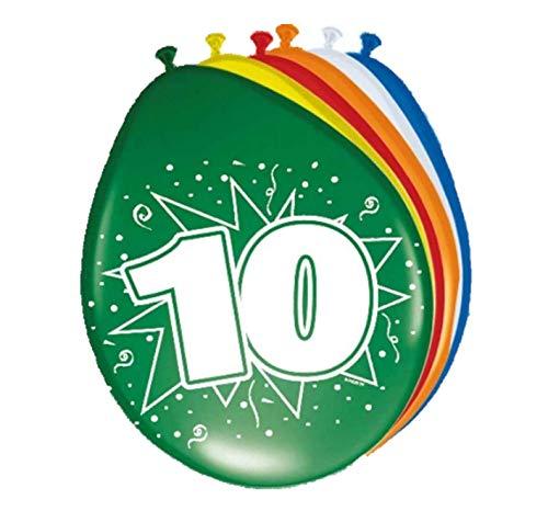8Globos 10. Cumpleaños Multicolor. , Modelos/colores Surtidos, 1 Unidad