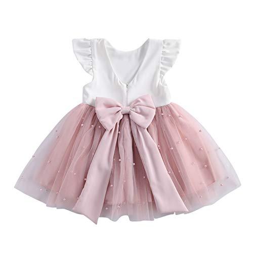 Loalirando Vestito Principessa Bambina Abito in Tulle Rosa Elegante Bowknot Indietro Senza Schienale Tutu...