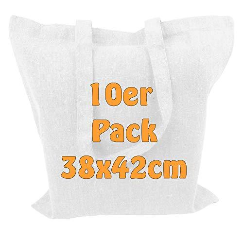 Cottonbagjoe Recyclingtasche aus recycelter Baumwolle Öko - Einkaufstasche robust mit dickem Stoff und Langen Henkeln (Weiß, 10 Stück)