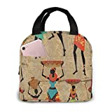 Bolsa de almuerzo portátil para mujeres africanas, afrocéntricas, con aislamiento térmico, reutilizable, bolsa para el almuerzo, bolsa para mujeres, picnic, navegación, playa, pesca, trabajo