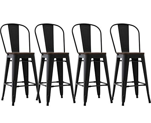Kmax Industrial Metal Bar Stools Set - Counter Height Bar Stools Chairs with Wood Seat & High Backrest Indoor Outdoor, 26', Set of 4, Black