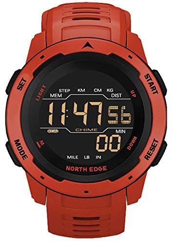 YGMDSL Hombres Digital Watch Fitness Tracker Relojes Deportivos para Hombres Tiempo Dual Pedómetro Reloj De Alarma A Prueba De Agua 50M Reloj Digital Reloj Militar Reloj Reloj (Red)