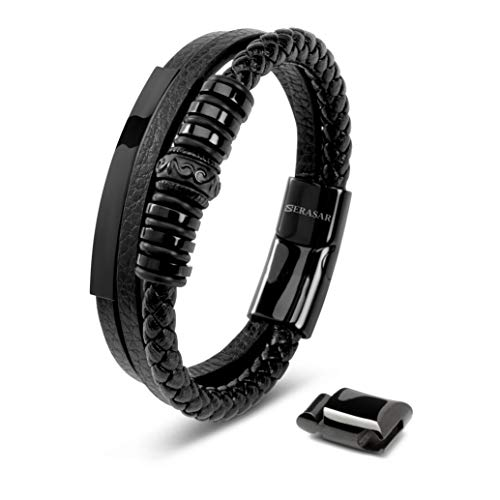 SERASAR Mens Leather Bracelet 20cm Black Bracelet Men Gift-Box Genuine-Leather Braided Adjust-Able Magnetic-Clasp Multi-Layer Wrap Rope Man Mans Boy Boys Mens Bracelets Jewelry Magnet Accessories