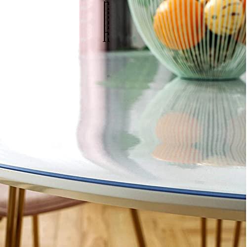 Mantel Transparente De Pvc Redondo 1.6mm De Espesor, Cubierta Protectora De Escritorio De Plástico Transparente Para Mesa De Comedor De Madera Alfombra De Hardfloor, Si(Size:80cm diameter,Color:1.6mm)
