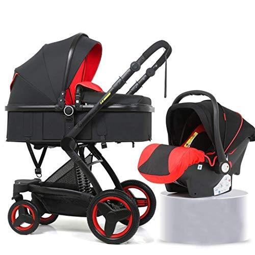 QJY Pram, Quick Fold Baby Carriage voor Vista Pram, Carriage 2 in 1 Baby Kinderwagen voor Pasgeboren -Compact Single Baby Carriage Peuter Rood