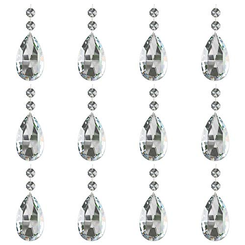 JaneYi (12 Stück) 50mm Träne Kristall Anhänger Kristallglas Kronleuchter Prisma Sonnenfänger Teile mit 12 Achteck Perlen und Verbindungsringen für Lampe Vase Garten Party Weihnachten Hochzeit Dekor