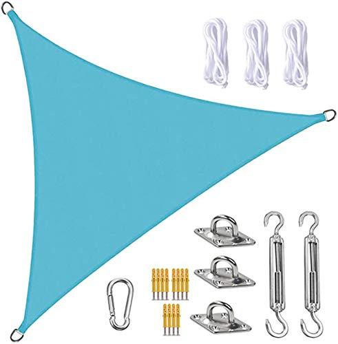 FFJD Vela De Sombra Sun Shade Sail Canopy Triangle UV Block Impermeable Sol Sombra Toldo con Kit De Fijación para Jardín, Patio, Piscina, área De Barbacoa, Azul Claro(Size:3X3X3m/10X10X10ft)