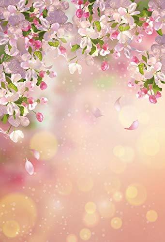 Fondos fotográficos de Retrato de bebé recién Nacido con pétalos de Flores de Primavera Rosadas para Estudio fotográfico A9 10x7ft / 3x2,2 m