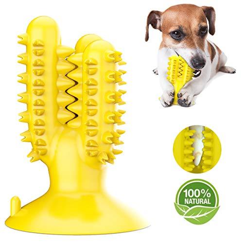AEITPET Hundezahnbürste Hundespielzeug Kauspielzeug Gummi Zahnreinigung Hunde Zahnbürste, ungiftig, Naturkautschuk, beißfest, für Kleine Hunde Welpe Große Hunde, Hundezahnpflegespielzeug (Gelb)