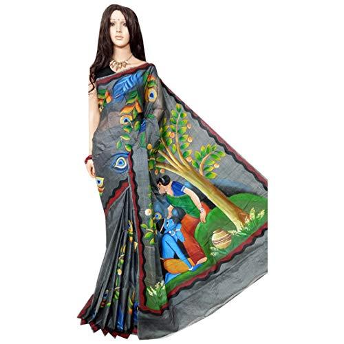 Village Bengal 158a - Pintura a mano de seda para sari y tussar, color gris