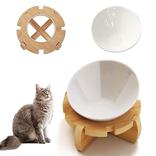 Ciotola Gatto Ciotola Per Gatti Rialzata In Altezza In Bambù Ceramica Ciotole Acqua, Ciotola Per Cibo, Ciotola Acqua Gatto, Ciotola Anti Vomito Per Gatti Ciotole Per Cani Rialzate