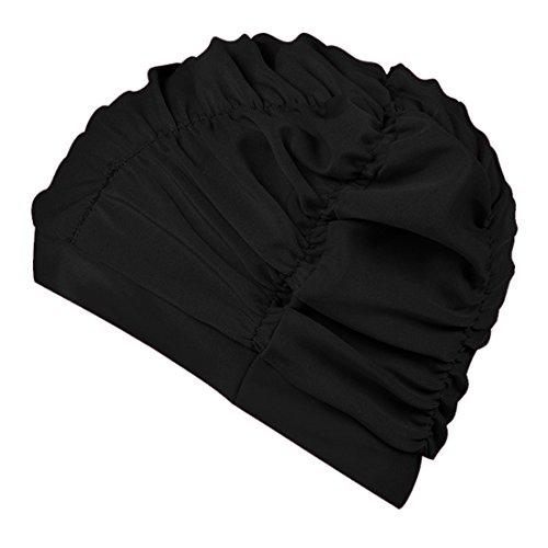 Boomly Unsex Badekappe Tab Schwimmhaube Mode Gemütlich Stoff Bademütze Zum Lange Haare Damen Mädchen Schwimmkappe (Schwarz)