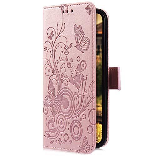 Uposao Kompatibel mit iPhone XS Max Handyhülle Hülle Flipcase Schmetterling Blumen Muster Flip Wallet Schutzhülle Bookstyle Leder Tasche Klapphülle Case Magnet Kartenfach,Rose Gold