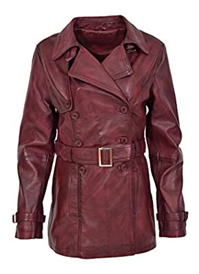 HOL Ladies Double Breasted Mid Length Trench Leather Coat Fitted Reefer Jacket Sienna Burgundy (X-Large)