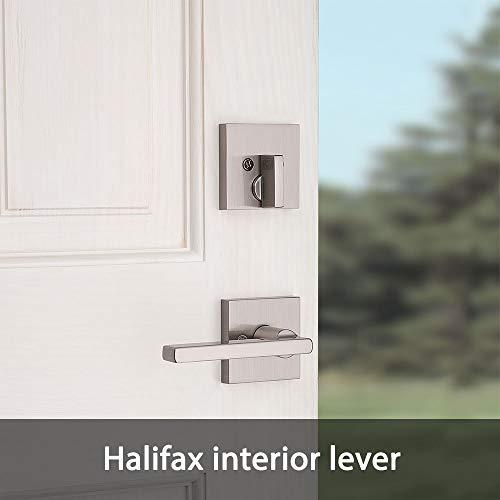 Kwikset 98180-002 San Clemente Single Cylinder Low Profile Handleset Front Door Lock with Halifax Lever featuring SmartKey Security in Satin Nickel