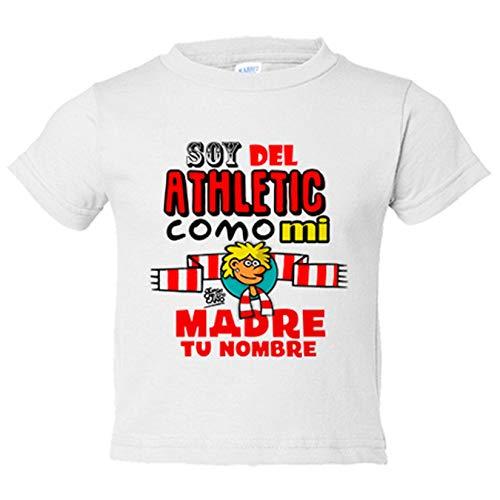 Camiseta niño soy del Athletic de Bilbao como mi madre personalizable con nombre - Blanco, 12-14 años