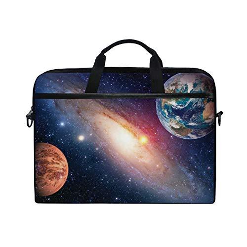 QMIN - Funda para ordenador portátil Galaxy Nebula Space Universe con cremallera y correa para el hombro para Dell HP Lenovo MacBook de 14 a 14,5 pulgadas