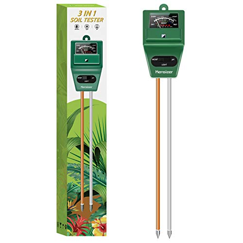 Kensizer Soil Tester, 3-in-1 Soil Moisture/Light/pH Meter, Gardening Lawn Farm Test Kit Tool, Digital Plant Thermometer Probe, Water Hydrometer Sunlight Tester for Indoor Outdoor, No Battery Required