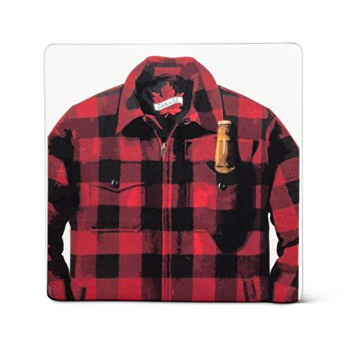 Abbott Collection Home 1327-CHECK-CSTR - Chaqueta con posavasos para cerveza, color blanco y rojo