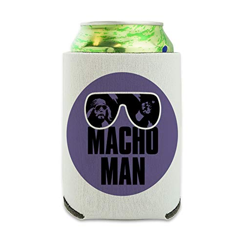 WWE Macho Man Classic Logo Can Cooler - Drink Sleeve Hugger Collapsible Insulator - Beverage Insulated Holder