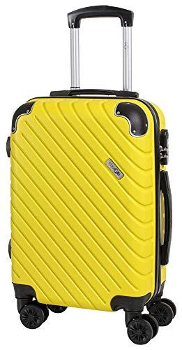 CABIN GO MAX 5510 Valigia Trolley ABS, bagaglio a mano 55x37x20, Valigia rigida, guscio duro e antigraffio con 8 ruote, Ideale a bordo di Ryanair, Alitalia, Air Italy, easyJet, Lufthansa GIALLO