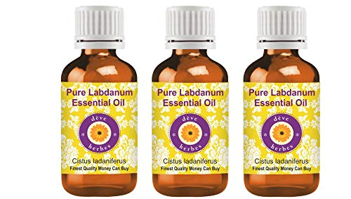 Huile essentielle pure de labdan de Deve Herbes (Cistus ladaniferus) 100% normale de catégorie thérapeutique distillée par vapeur 100ml Pack of Three (10,1 oz)