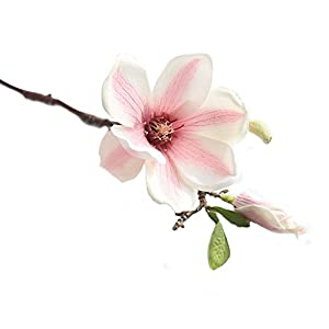YIlanglang 1PC Silk Artificial Magnolia Flowers Fake Artificial Flower Decoration Bouquet with Long Stem for Home Table Centerpiece Office Vase