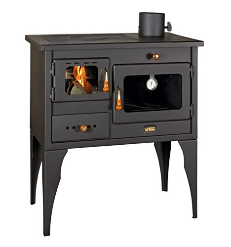 Estufa de leña, chimenea, horno, hecha de hierro fundido, para usar con combustible sólido, 10 kw