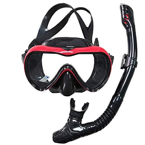 ACRIAL Snorkel Set de máscara de buceo antivaho para snorkel, gafas de buceo panorámicas, con tubos de respiración libres mejorados y equipo de snorkel profesional antifugas para adultos